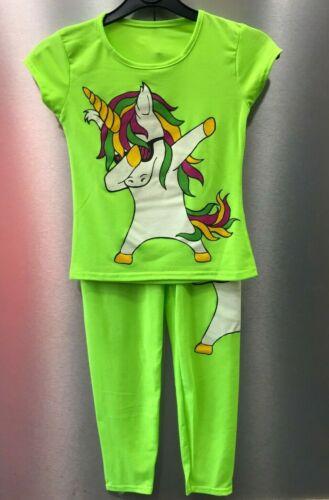Girls /& Kids Dab Unicorn Short Sleeve Tshirt Top with Leggings jog Age 5-13 Ye