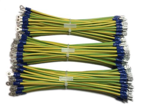 Anello Cavo Calzature Trefolo Filo Verde//Giallo 6mm² confezionati con connettore maschio fastom U.//O