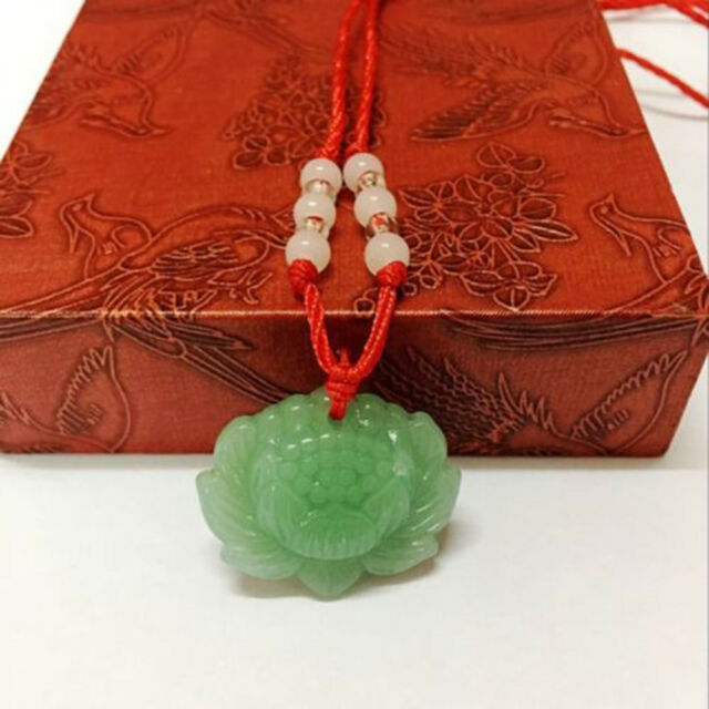 Natural Green Jade Lotus Pendant Necklace Fashion Lucky Charm New Jewlery Gift