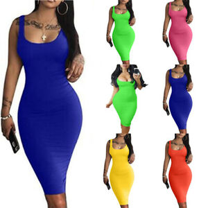 Women-039-s-Sexy-Casual-Bodycon-Tank-Dress-Sleeveless-Basic-Midi-Party-Club-Dresses