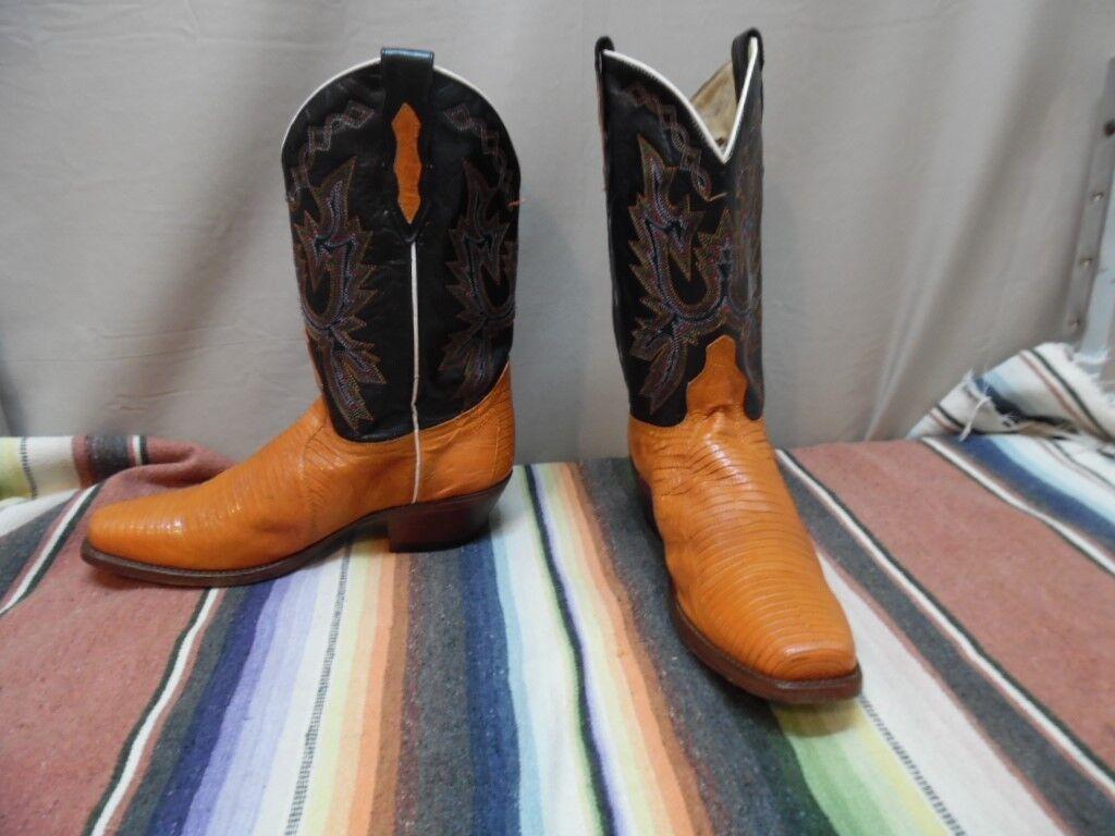 Women's Dan Post Lizard Square Toe Western Cowboy Boots 8 1/2 M  (h418)