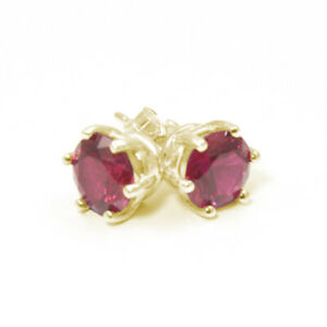 Earrings-6-Claw-Ruby-2ct-Diamond-Unique-Solitaire-Solid-9ct-Gold-Studs