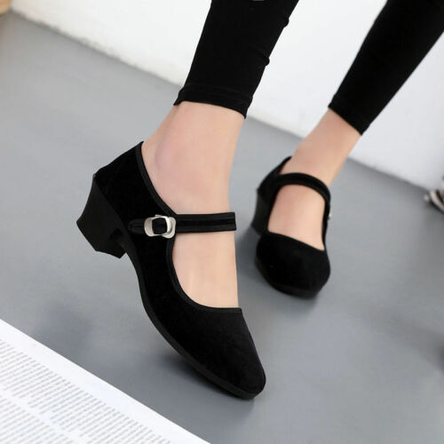 Womens Shoes Ankle Strap Buckle Black Mid Heels Block Old Beijing Cloth Shoes SZ