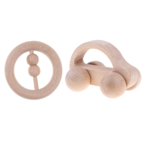 2pcs Baby Natural Wooden Teether Rattle Teething Ring Car Developmental Toys