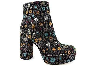 57dc26ca51b968 Sam Edelman Women s Azra Block-Heel Fashion Boots Black Gold Brocade ...