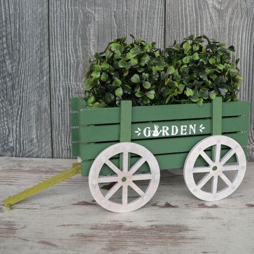 Deko Karren Holz grün Blumentopf Heuwagen Anhänger Geschenk Verpackung 22cm Topf