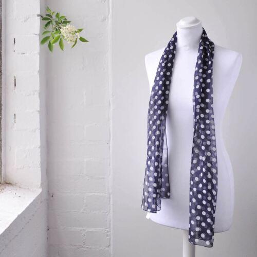 Femmes Classique 10 mm Polka Dot écharpe Tissu doux cou longue mousseline écharpes
