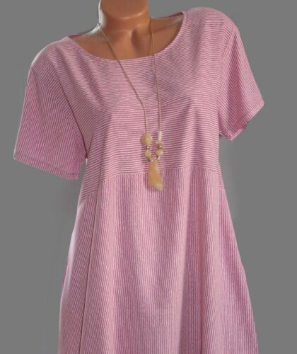 ITALY SommerKleid,Kleid,Tunika,Longshirt,Oversize,Streifen,Kette,Gr.40,42,44,NEU