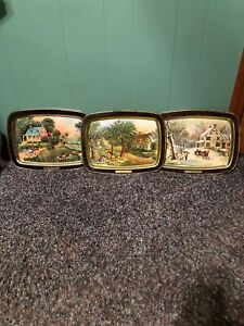 Vintage-Currier-And-Ives-Homestead-Seasons-Metal-Tin-TV-Serving-Trays-Lot-Of-3