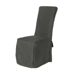 Image Is Loading 1 X Slate Grey Fabric Dining Chair Covers