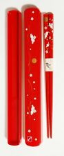 Red Japanese Travel Chopsticks with Case Bunny S-3690