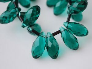 10pcs-16X8mm-Teardrop-Faceted-Crystal-Glass-Pendant-Loose-Beads-Peacock-Green