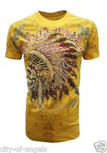 Konflic-Mens-T-Shirt-Native-American-Indian-Skull-Tattoo-Biker-MMA-Windtalker