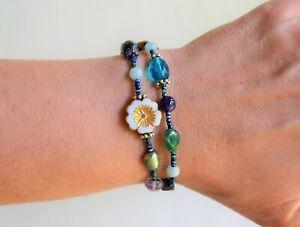 Blue-Picasso-Bracelet-Double-Strand-Black-Leather-Closure-Boho-Jewelry-Yevga