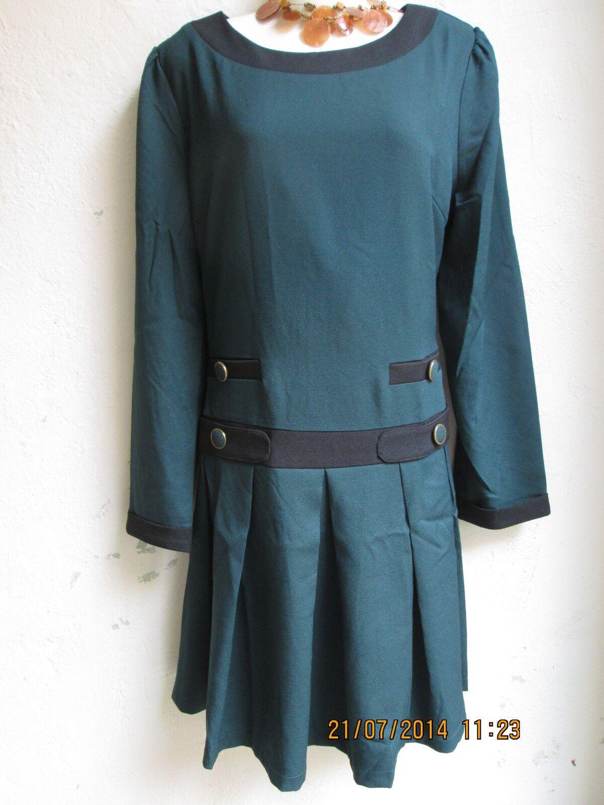 Kling Kleid Stiefelkleid Dunkelgrün Gr. M L  Gothic Rockabilly Retro Vintage