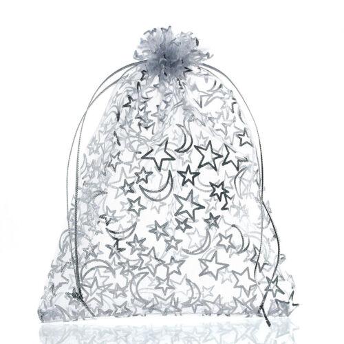 20PCs BD White Rectangle Organza Bag Moon/&Star Storage Jewelry Gift Bag 16x13cm