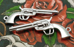 Free-Shipping-4pcs-Silver-Pistol-REVOLVER-Gun-Weapon-Charms-Pendants-PND-298