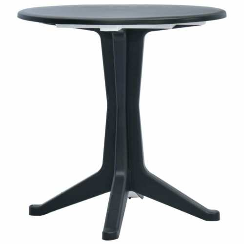 vidaXL Garden Table Anthracite 70cm Plastic Weather-resistant Outdoor Bistro