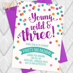 5 X Personalised Dotty Dot Spot 3rd Young Wild Three Birthday Party