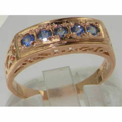 Luxury 9ct Rose Gold Sapphire English Eternity Band Ring