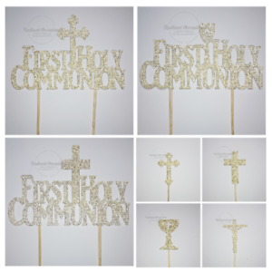 First Holy Communion Cake and Cupcake Toppers - Glitter, Cross, Jesus, Chalice