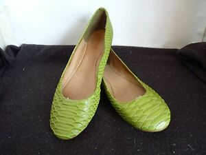 BONBONS-HAPPY-GREEN-SNAKE-LIKE-FLAT-HEEL-LADIES-LEATHER-LINING-SHOES-SIZE-8-5