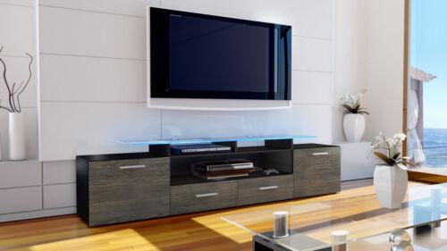 TV Lowboard Board Schrank Möbel Fernseh Regal Tisch Almada V2 Schwarz Hochglanz