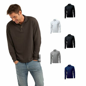 Hanes-Long-Sleeve-Polo-T-shirt-for-Men-Top-Polo-Comfort-Fit-100-Cotton