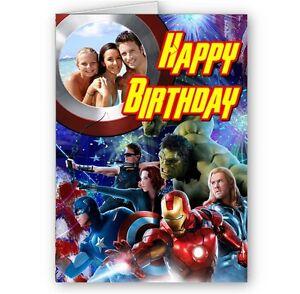Photo Personnalise Avengers A5 Joyeux Anniversaire Carte Avec Enveloppe Ebay