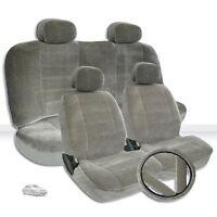 For Toyota Semi Custom Grey Velour Car Seat Steering Wheel Covers Full Set