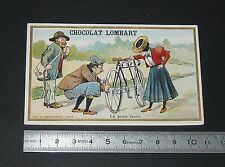 CHROMO 1900-1910 CHOCOLAT LOMBART AU FIDELE BERGER LE PNEU CREVE CYCLISTES