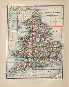 1900 VICTORIAN MAP ~ ENGLAND & WALES INDEX WALES YORK DEVON