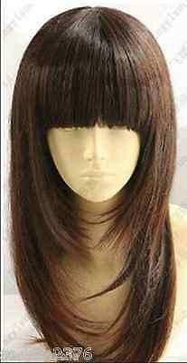 New ! Brown Medium Straight cosplay wig 60cm Free shipping