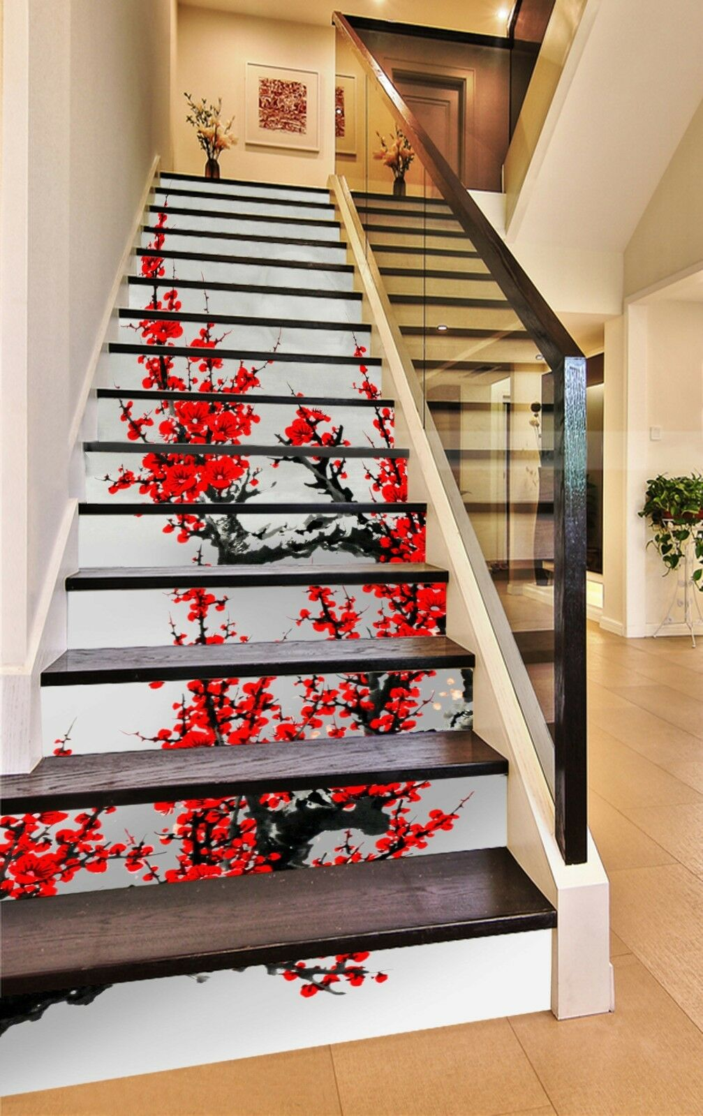 3D rouge plum blossom Stair Risers Decoration Photo Mural Vinyl Decal Wallpaper AU