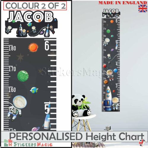 Height Chart PERSONALISED Space Rocket for Boys Girls Nursery Wall Stickers Kids