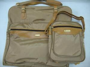 Vintage-1980s-Samsonite-2-pc-Luggage-Set-Garment-Bag-Carry-on-Shoulder-Bag-Tan