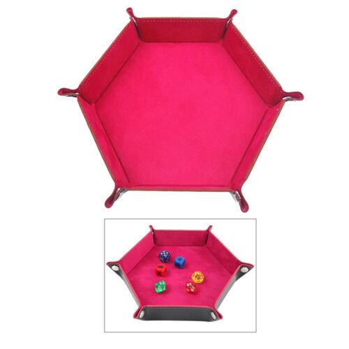 Leder Faltbare Hexagon Dice Tray Würfel Lagerung Box für Tisch Spiel