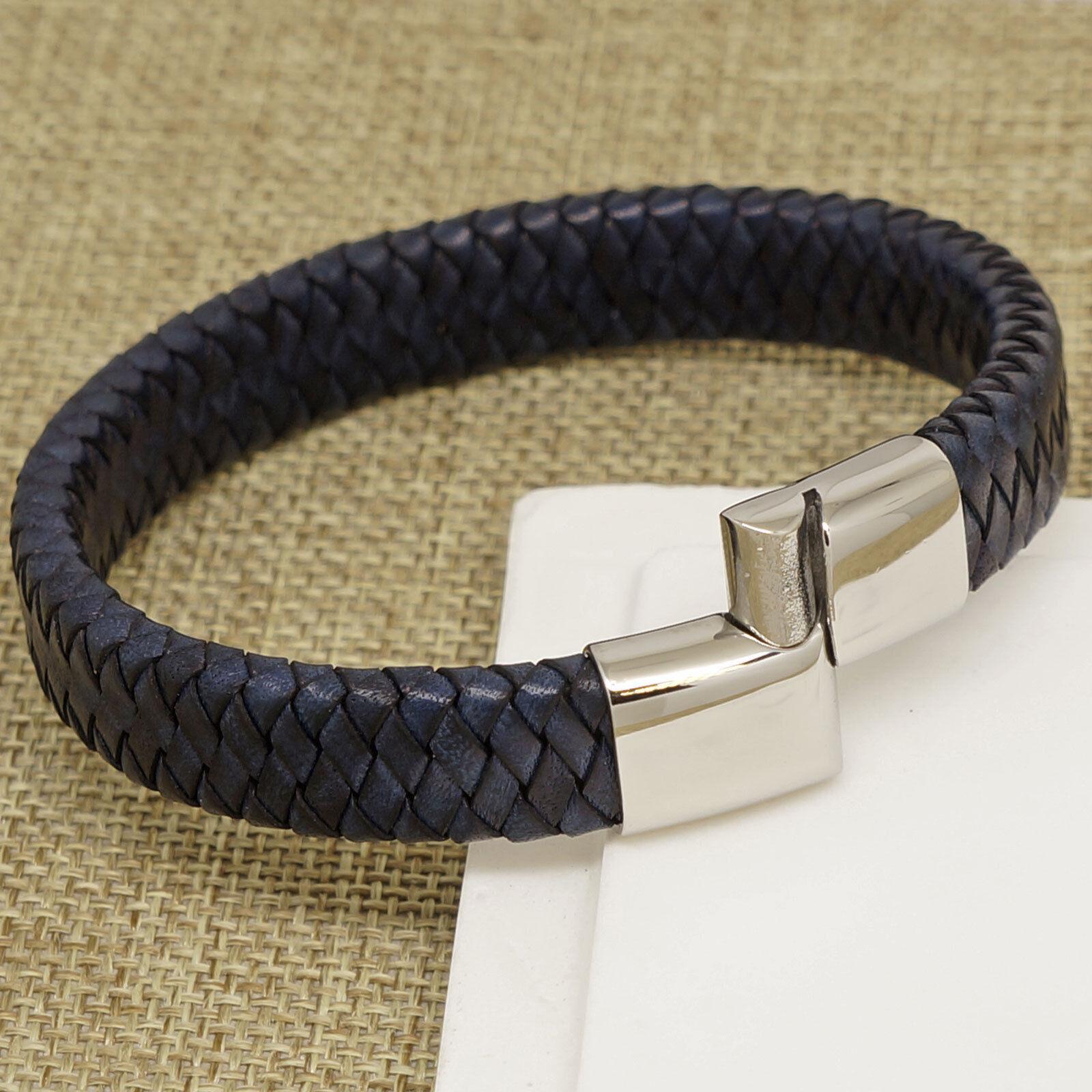 dfa08ed50906 Details about Boys Mens NAVY BLUE Genuine Italian Leather Wrap Bracelet  Steel Magnetic Clasp