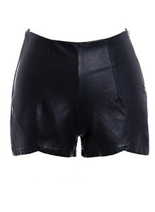 sh30 Celeb Style High Waisted Zipper Fitted Black Faux Leather ...
