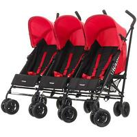 Obaby Mercury Triple Stroller Black/red Baby/toddler/child Buggy Travel Bn
