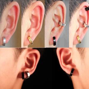 1-Pair-Men-Stainless-Steel-Non-Piercing-Clip-On-Ear-Stud-Cuff-Hoop-Earrings