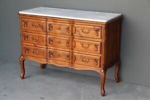 Antique-French-provincial-carved-cherrywood-chest-of-drawers-marble-top-ornate