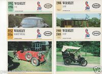 4 Fiches Automobile Gb Car Wolseley 10 Hp 24 Hp Hornet Special 4/44 1900-1956
