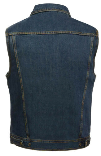 Mens Classic Front Snap Blue Denim Vest with Shirt Collar and Gun Pockets