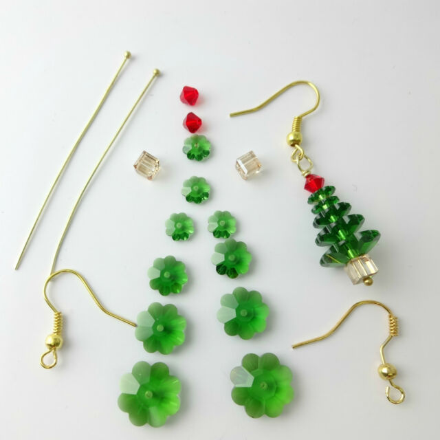 Crystal Christmas Tree Earrings Kit With Sterling Silver Findings Gold Plated