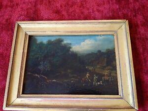 Rare-tableau-miniature-paysage-1835-peintre-anglais-XIXeme-huile-sur-panneau
