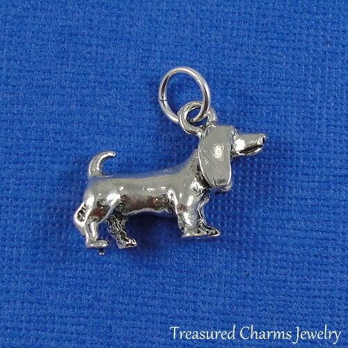 Silver BASSET HOUND CHARM 3D Puppy Dog Beagle PENDANT *NEW*