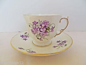 Fine-Bone-China-New-Teacup-amp-Saucer-Heirloom-England-Elizabeth-Grey-Violets
