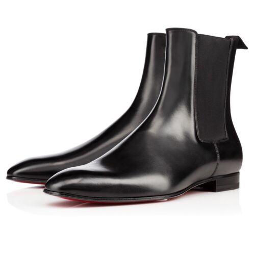Nero Scarpe Uomo Mano A Stivali Alto Caviglia Pelle Fatto Chelsea XqwZRwpA