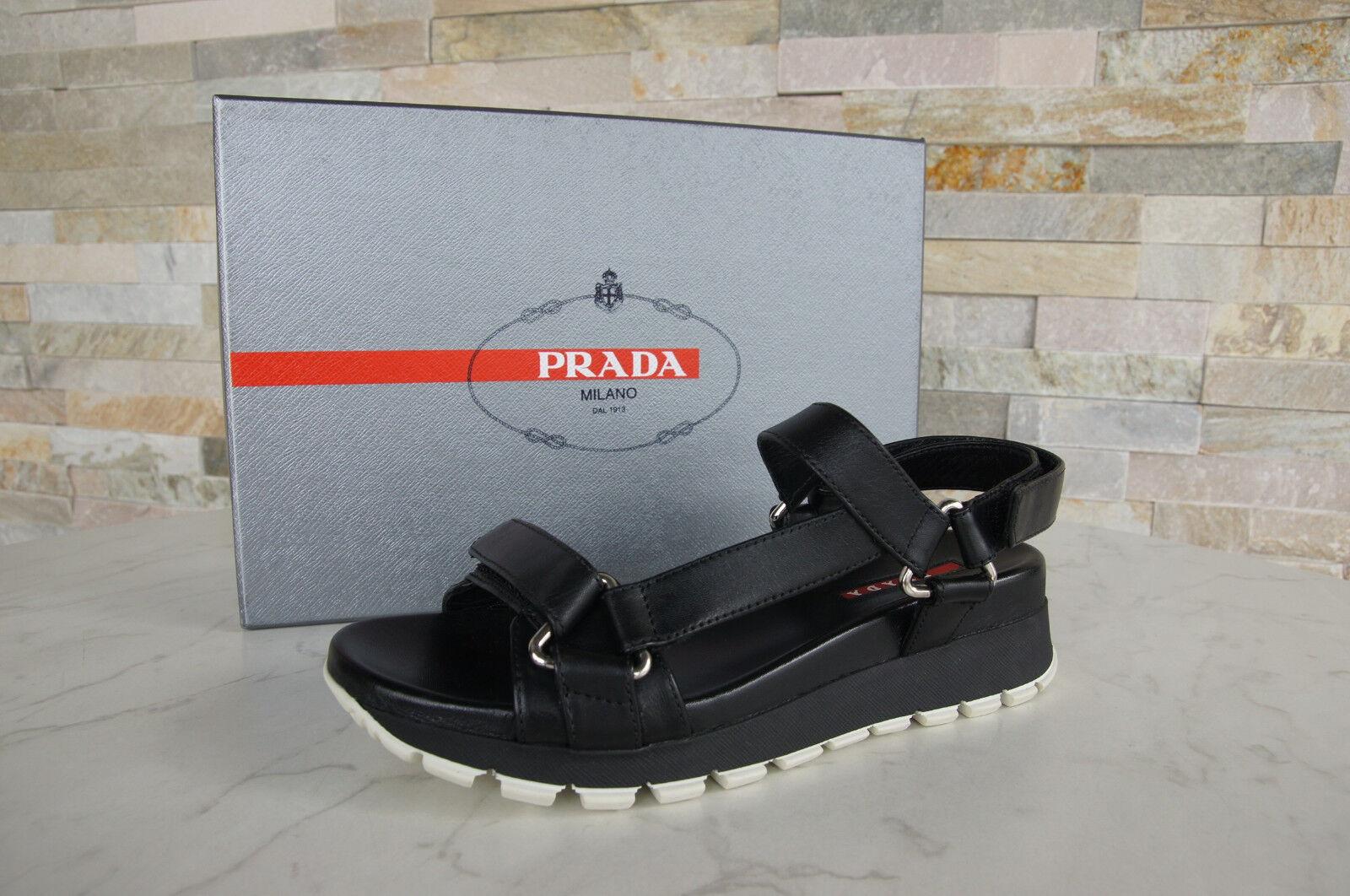 PRADA TAGLIA Scarpe 35 Sandali Sandals 3x6143 Scarpe TAGLIA Velcro nero NUOVO UVP 35e4bd